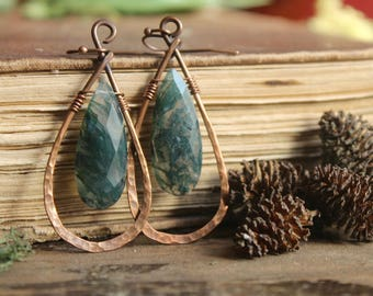 V E R D E collection // moss agate quartz earrings