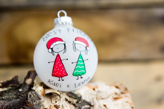 best friends christmas ornament personalized for free etsy