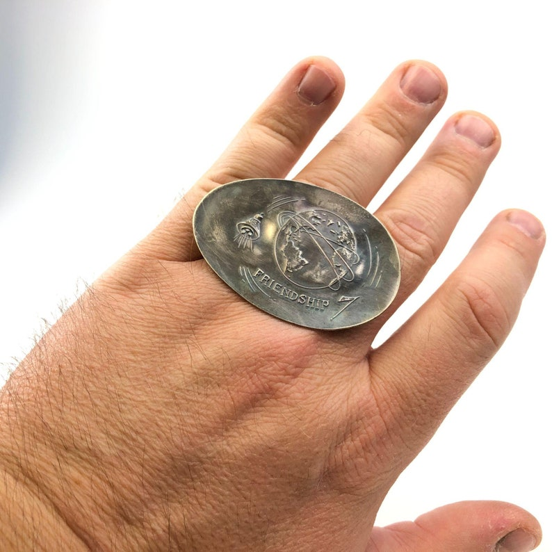 Vintage Friendship 7 silverplate adjustable spoon ring