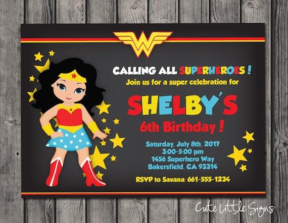 wonder woman superhero girls birthday invitation digital etsy