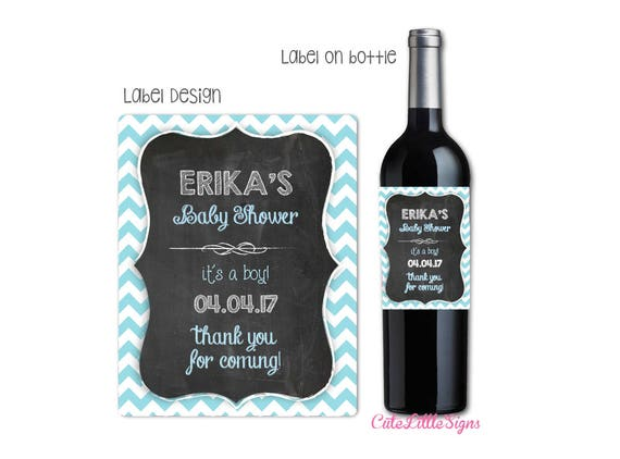 Baby Shower Wine Bottle Labels Blue Chevron Digital Download Etsy