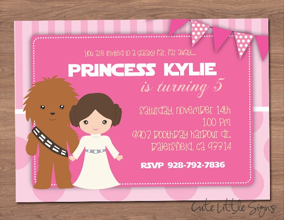 Starwars Princess Leia Birthday Invitation Star Wars Invite Digital Download