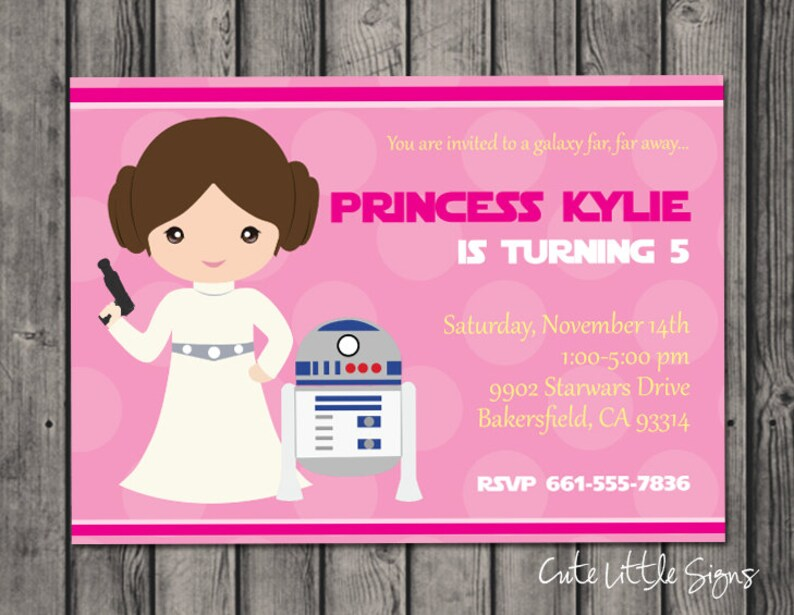 Starwars Princess Leia Birthday Invitation Star Wars