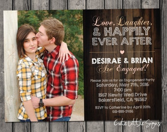 Wood Engagement Party Invitation, Rustic Engagement Invite Digital Download
