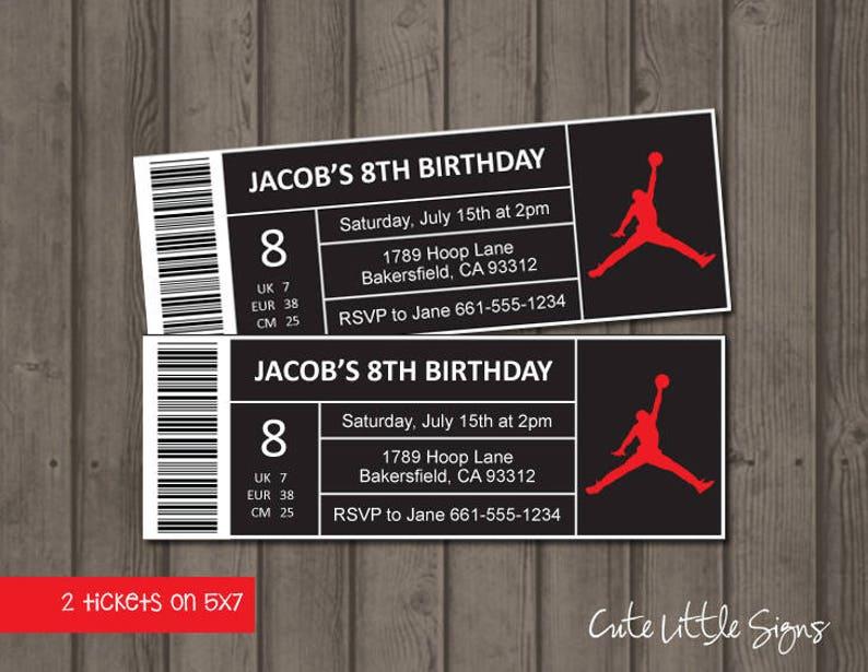 huge selection of 2e00c a9108 Jordan Shoe Box Label Ticket Birthday Invitation Digital   Etsy