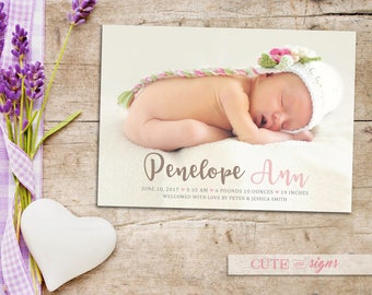 Photo Birth Announcement Baby Girl Digital Download
