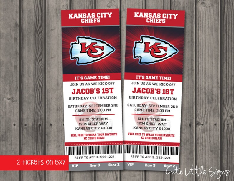 Hot KC Chiefs Birthday Ticket Invitations Football Birthday Boys | Etsy  hot sale