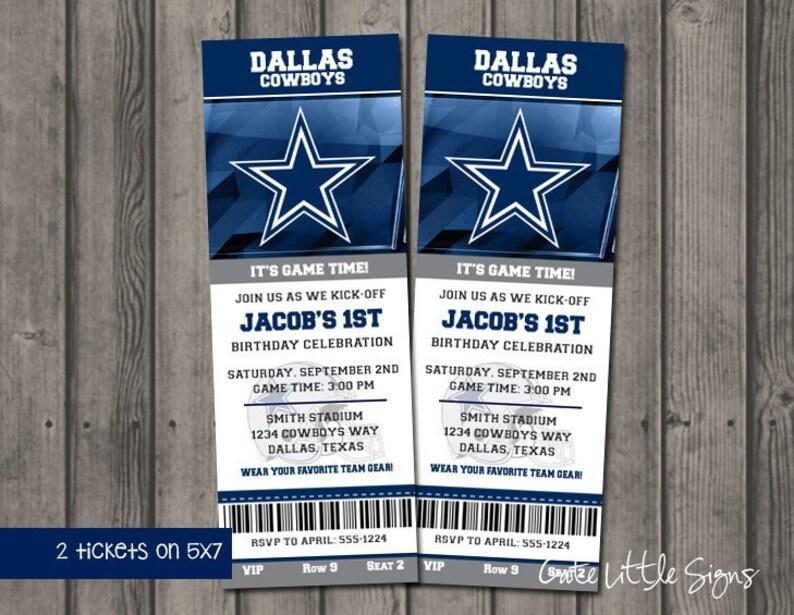 Dallas Cowboys Birthday Ticket Invitations, Football Birthday, Boys Sports  Birthday Invite Digital Download