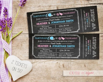 Baby Shower Gender Reveal Football Tickets Invitation, Quarterback vs Cheerleader, Chalk Gender Reveal Invite, Pink vs Blue Digital Download