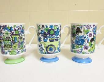Vintage Bone China Footed Mugs Asian Young Lovers 1960s//Hand Painted/Kitchy/Mod/Retro