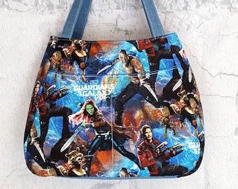 Guardians of the Galaxy Handmade Tote - Marvel Tote Bag - Handmade Shoulder Bag - Handcrafted Purse - Superhero Handbag Tote - Geek Girl Bag