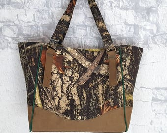 True Timber and Paper Handbag Tote - Kraft Tex Handbag - Vegan Leather Charlotte Tote - Faux Leather Tote - Ready to Ship Vegan Leather Tote