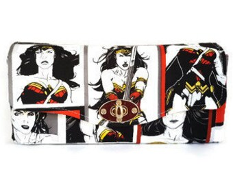 Wonder Woman Accordion Wallet - Necessary Clutch Wallet - Handmade Accordion Wallet - Superhero Wallet - Ready to Ship