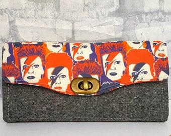 Custom Made David Bowie Wallet - Ziggy Stardust Clutch Wallet - Handmade Accordion Wallet - Ziggy Stardust Accordion Wallet
