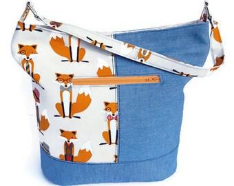 Foxy Handmade Bucket Bag - Handmade Tote - Zippered Tote - Foxes and Denim Tote Bag - Fox and Denim Bucket Bag - Ready to Ship