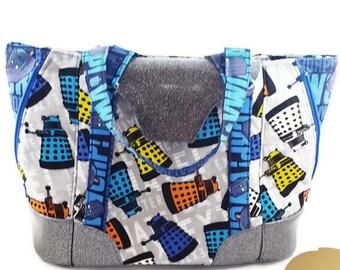 Handmade Expandable Handbag Tote - Dr.Who Purse - Dalek Exterminate - VWORP! VWORP! - Glitter Vinyl Handbag - Custom Made Handbag Tote