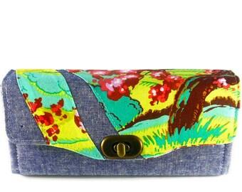 Cherry Blossom Handmade Clutch Wallet - Designer Fabric NCW - Linen Necessary Clutch Wallet - Cherry Blossom Wallet - Ready to Ship Wallet