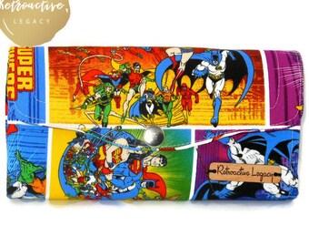 Womens DC Superhero Wallet - Necessary Clutch Wallet - Wonder Woman - Batgirl - Supergirl - Geeky Gifts - Fabric Wallets for Women
