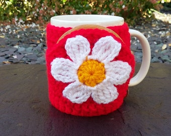 A nice cup of tea and a biscuit - Daisy flower mug hug / mug cosy with biscuit / cookie pocket in red.