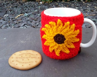 Sunflower mug hug / mug cosy with biscuit pocket / cookie pocket in red.