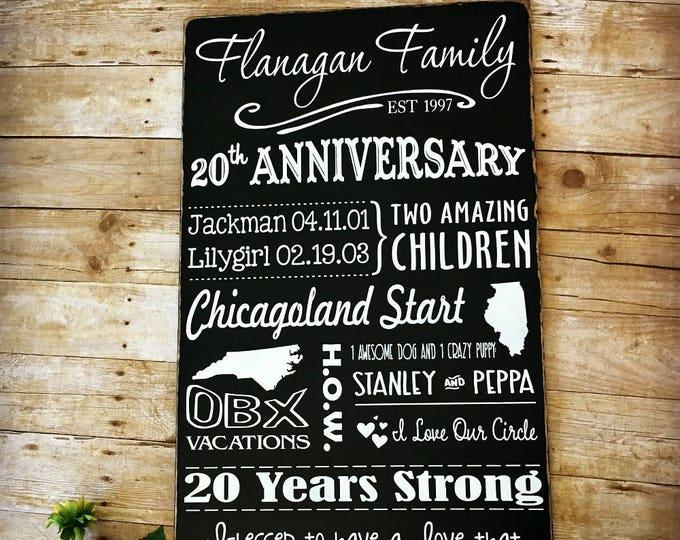 20 Year Anniversary Storyboard, Keepsake for Her, Anniversary Sign, Family Story Sign, 20th Anniversary