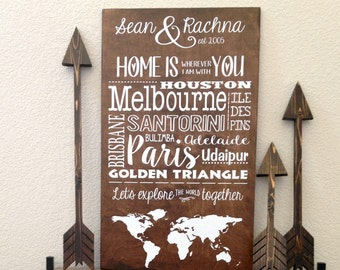 World Map Wood Sign, Custom Longitude Latitude Sign, Unique Wedding Décor, Wooden Marriage Sign