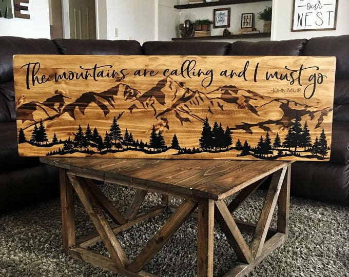 The Mountains Are Calling Sign, Wood Mountain Art, Cabin Decor, Wood Mountain Scene, Mountain Ranges, Rustic Mountains, John Muir Quote