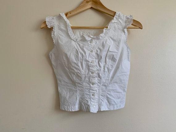White Edwardian Corset Cover - Blouse - XXS