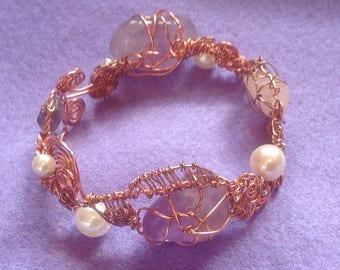 Amethyst Wire Wrapped Cuff Bracelet, Copper Wire Wrapped Bracelet, Abstract Wire Wrapped Bracelet.