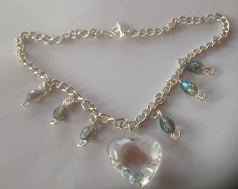 Crystal Heart Necklace, Crystal Heart Pendant, Crystal Beaded Chain Necklace