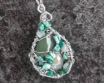 Green Quartz Pendant, Green Gemstone Chip Pendant, Mosaic Gemstone Pendant