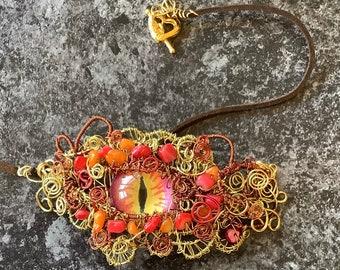Dragon Eye Pendant, Dragon Eye Necklace, Red, Wire Wrapped Eye Pendant
