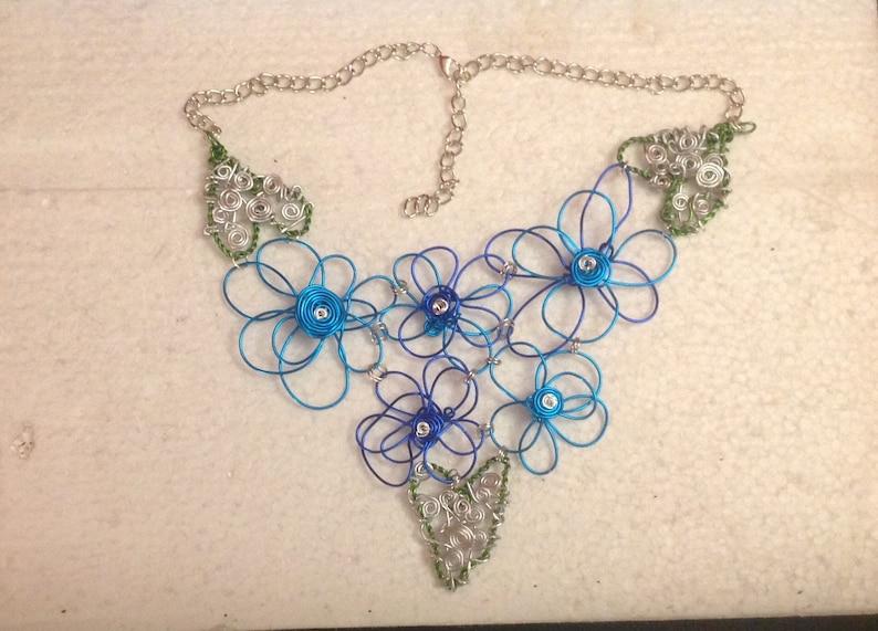 Wire Flower Bib Necklace Flower Necklace Flower Bib Necklace Daisy Necklace,Wire Bib Necklace