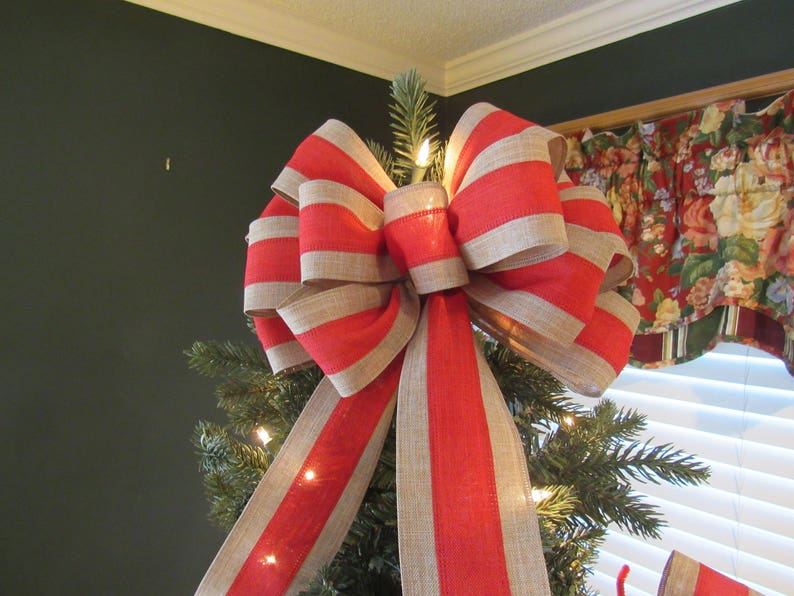 Wreath bow Holiday bow Valentines bow Red /& tan bow choice of 5 loop or 13 loop hand tied bows Patriotic bow canvas  wire edged ribbon