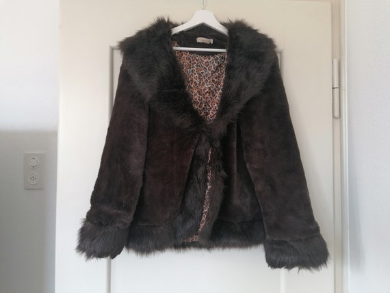 Vintage Fake Fur with Collar and Leopard Print Bro