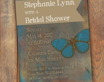 Digital Print-Custom Bridal Shower Invitation - 5x7 Turquoise/Tan Antique Patina background moth design Special Occassion