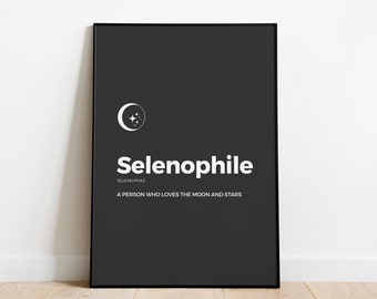 Poster for moon lovers - Selenophile definition Moon wall decor | quote for moon lovers | Moon poster | Moon wall art