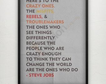 Steve Jobs Quote Print - 3 Colors - Motivational quote Inspirational poster print - Typography Poster