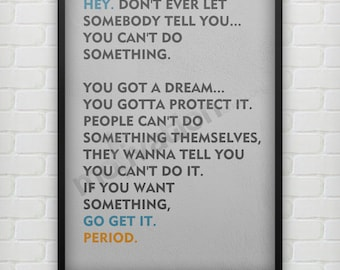 Don't ever let somebody tell you.. - Christopher Gardner quote Motivational quote Inspirational poster print - Typography Poster