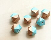 Geometric 2 tone Hand Painted Wood Beads - 7 pcs of  metallic blue and copper faceted wooden beads - wood supplies - 20mm