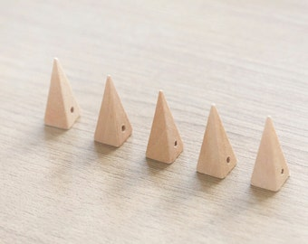 Cone Geometric Wood Beads for making jewlery - 5 pcs of unfinished raw wooden pendants -  25mm