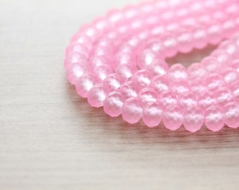 40 pcs of Frosted Pink color Faceted Rondelle Glass Beads - 6 x 8 mm