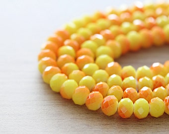 60 pcs of Shiny Yellow and Orange Faceted Rondelle Glass Beads - 6 x 8 mm
