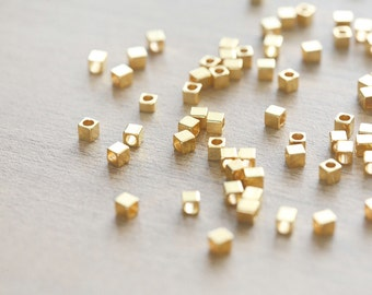 50 pcs of Gold Plated Cube Brass Bead Spacers - 3mm