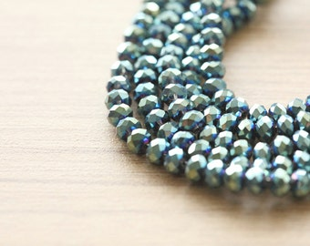Electroplate Glass Beads - 50 pcs of Blue Green Plated Faceted Glass Crystal Rondelle Beads Loose Beads - 4x3mm
