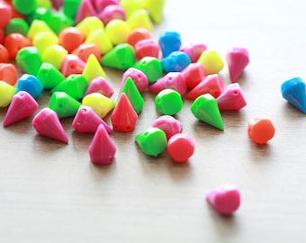 20pcs of Mixed Color Neon Spikes Cone Acrylic Beads