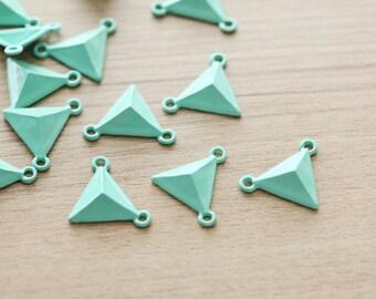 10 pcs of Pastel Mint Triangle Zinc Alloy Pendants - Pastel Color - 20 mm