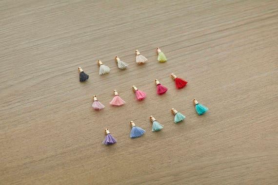 GT027-PG-LPC Light Peach Chiffon Tassel Mini Tassel Jewelry Craft Supply Polished Gold Plated over Brass Cap  4 Pcs