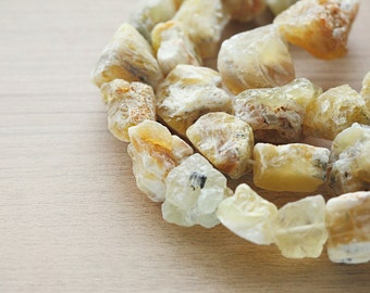 5 pcs of Natural Yellow Opal Rough Nugget Beads