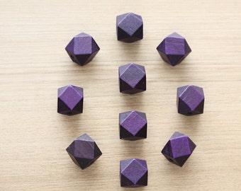 Geometric Wood Beads - 10 pcs of Deep Dark Purple faceted wooden beads - wood supplies - 20mm